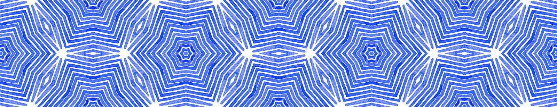 Blauwe Naadloze Grensrol Geometrische waterverf royalty-vrije illustratie