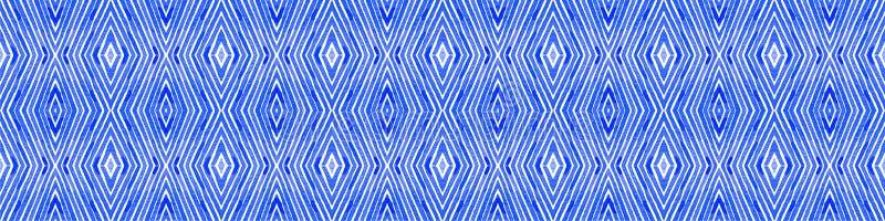 Blauwe Naadloze Grensrol Geometrische waterverf stock foto's