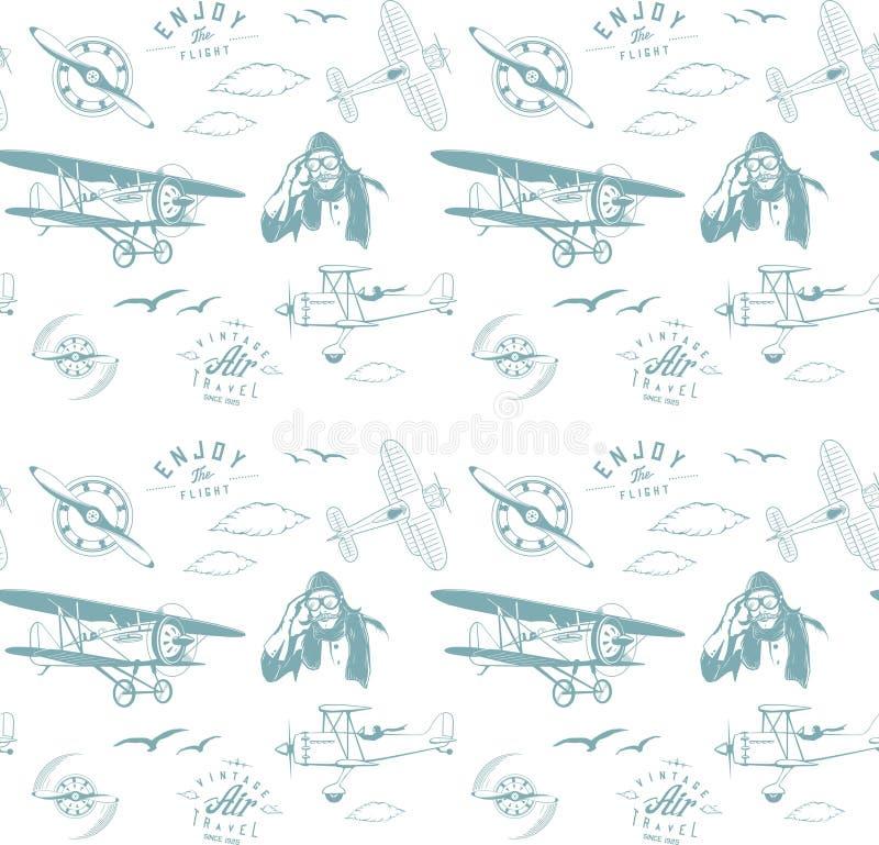 Blauwe naadloze het monogram retro wijnoogst van het luchtvaartpatroon royalty-vrije illustratie