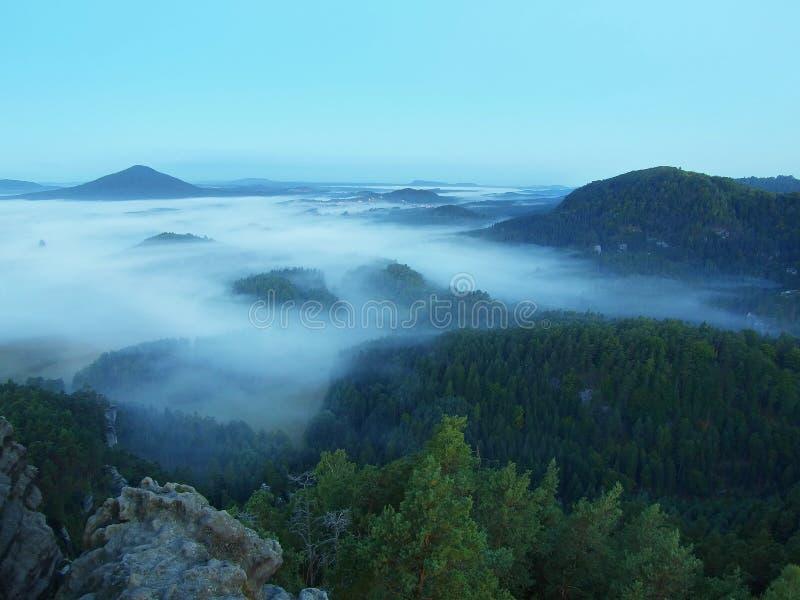 Blauwe nacht Koude dalingsatmosfeer in platteland Koude en vochtige ochtend, beweegt de mist zich tussen donkere heuvels royalty-vrije stock foto's