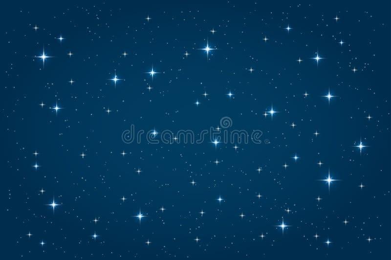 Blauwe nacht sterrige achtergrond vector illustratie
