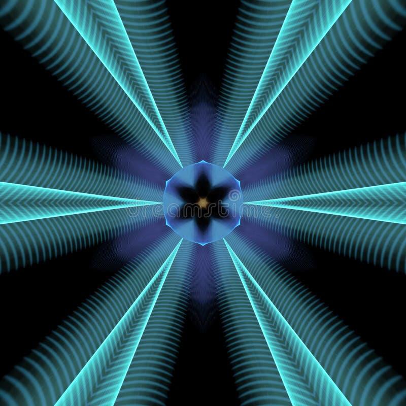 Blauwe neoncaleidoscoop vector illustratie