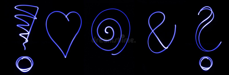 Blauwe neonsymbolen stock foto's