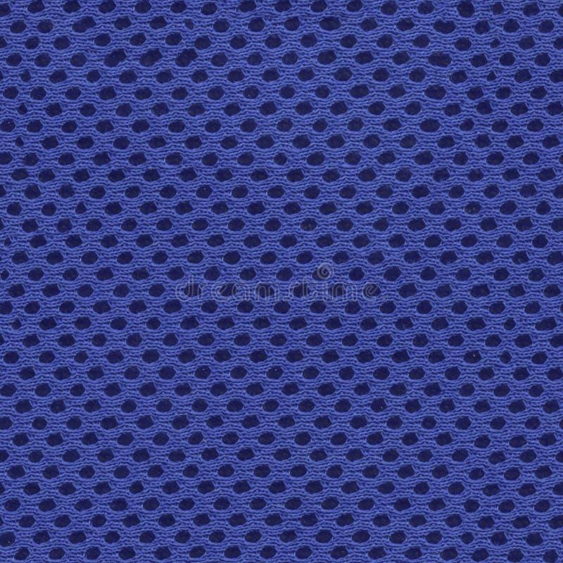 Blauwe netwerkstof, synthetische stoffen, polyester, naadloze textuur royalty-vrije stock fotografie