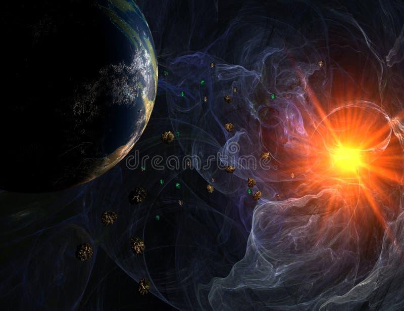 Blauwe nevel met close-upmening over planeet en zon vector illustratie