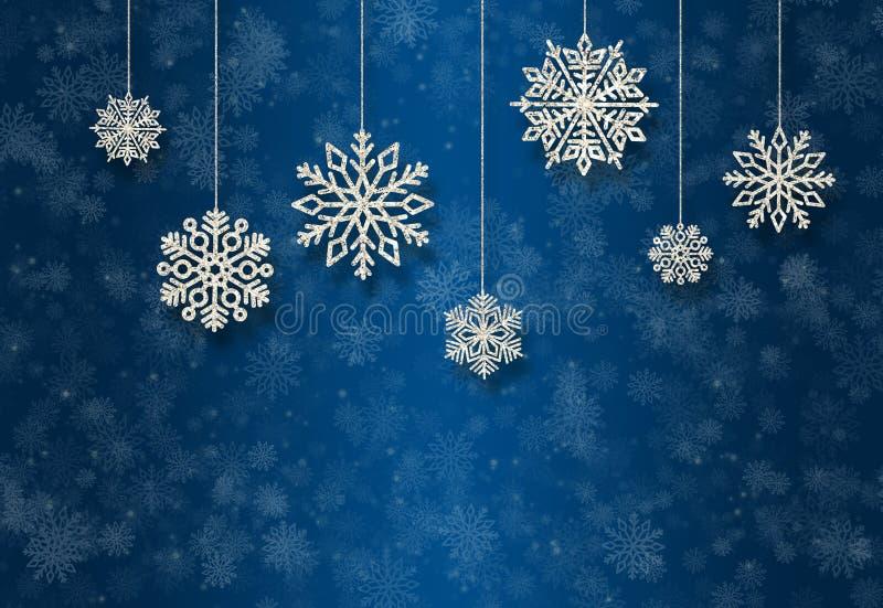 Blauwe Nieuwjaarachtergrond met zilveren Kerstboomspeelgoed stock foto