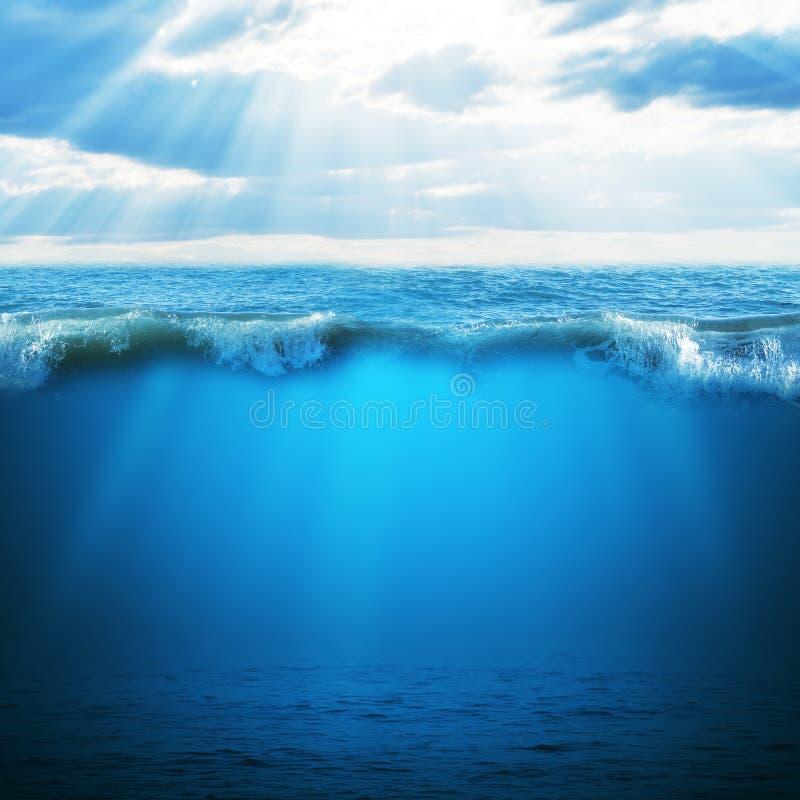 Blauwe oceaan en hemel stock foto