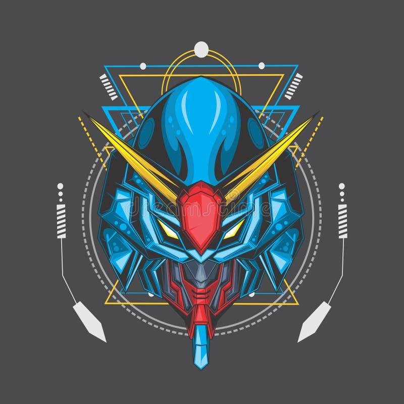blauwe oceaan gundam en heilige meetkunde stock illustratie