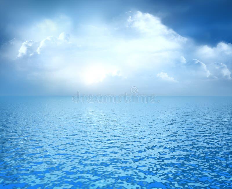 Blauwe oceaan met witte wolken op horizon vector illustratie