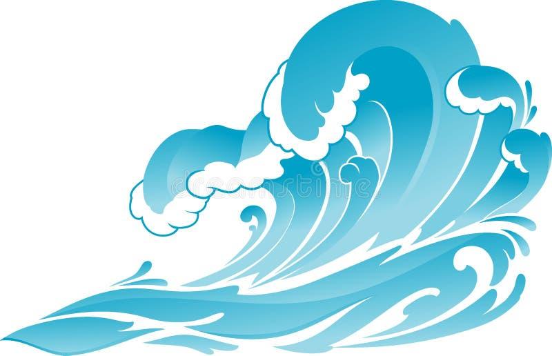 Blauwe Oceaan Verpletterende Golven stock illustratie