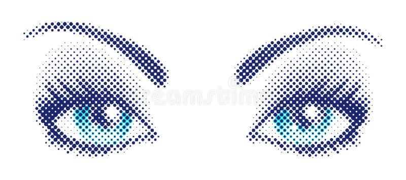 Blauwe ogen in halftone stijl vector illustratie