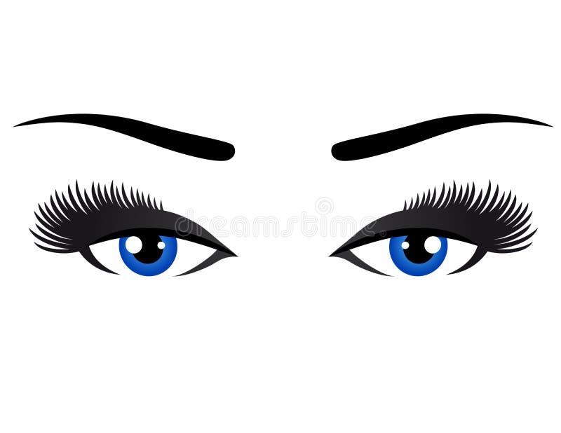 Blauwe ogen met lange wimpers stock illustratie