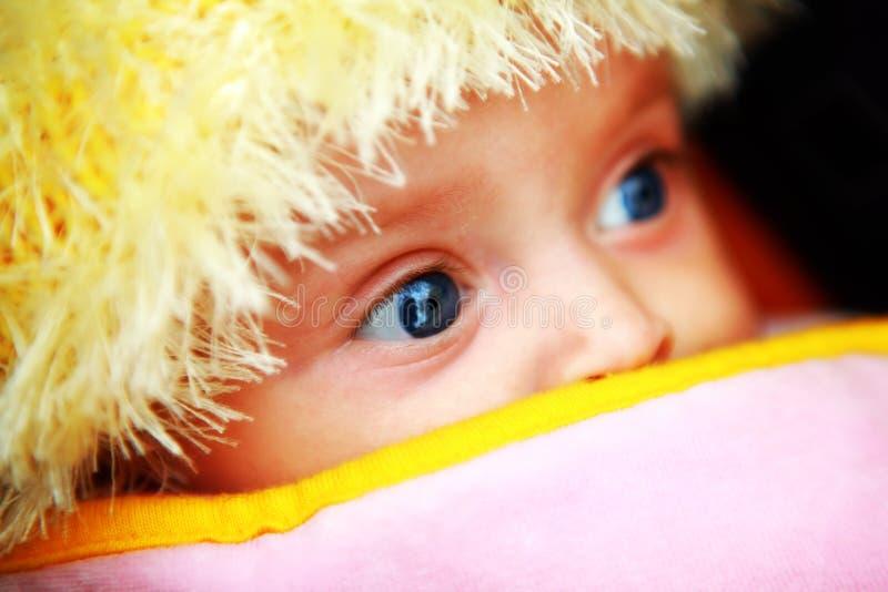 Blauwe ogen van baby stock foto