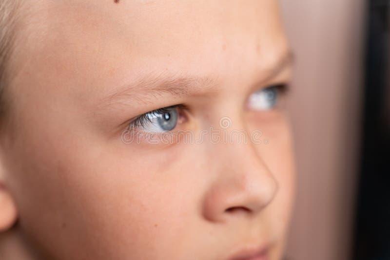 Blauwe ogen van het jongensclose-up Kinderen` s portret macrofoto's van ogen royalty-vrije stock fotografie