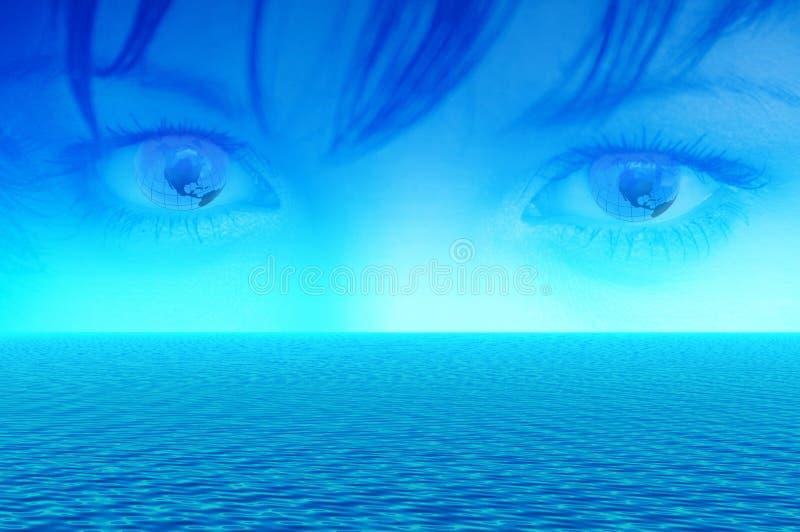 Blauwe ogen van wereld stock illustratie