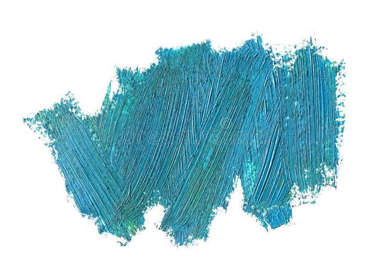Blauwe olieachtige geïsoleerde verfpenseelstreken, stock afbeeldingen