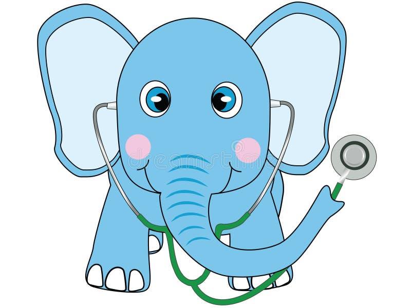 Blauwe olifant arts royalty-vrije illustratie