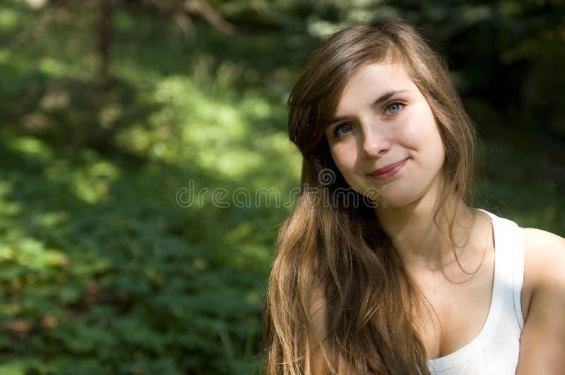 Blauwe oog sensuele vrouw royalty-vrije stock afbeelding