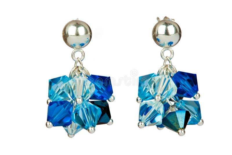 Blauwe oorringen royalty-vrije stock afbeelding
