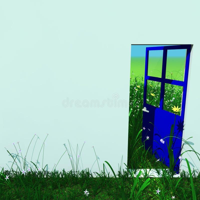 Blauwe open deur die aan groen landschap buiten kijkt stock illustratie