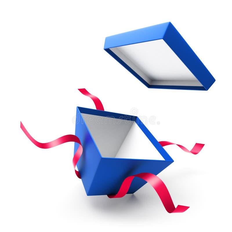 Blauwe open giftdoos met lint vector illustratie