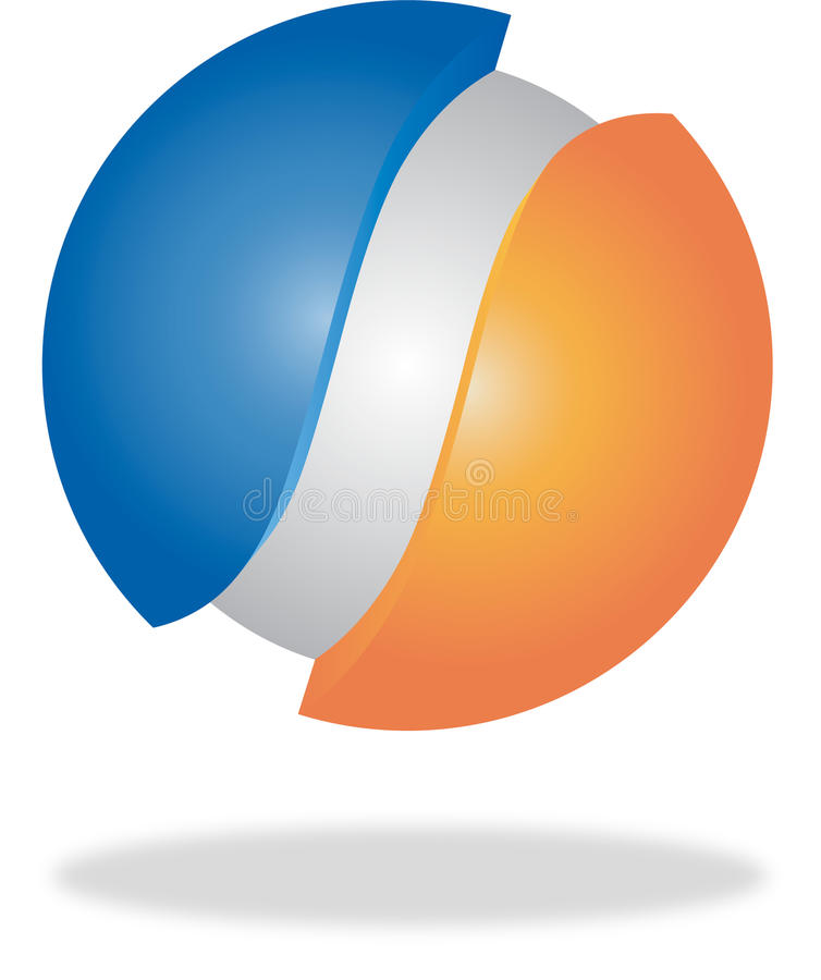 Blauwe, oranje en grijze 3d embleem of knoop royalty-vrije illustratie