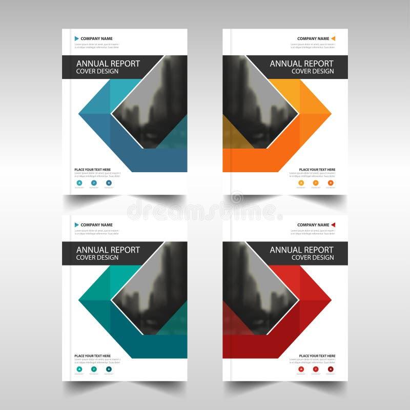 Blauwe oranje groene rode van het de Brochureontwerp van het driehoeks abstracte jaarverslag het malplaatjevector Affiche van het royalty-vrije illustratie