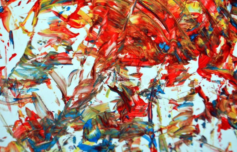 Blauwe oranjegele gouden fosforescerende witte de verf acryl abstracte achtergrond, textuur en slagen van de contrastwaterverf va vector illustratie