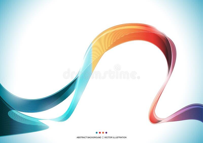 Blauwe oranjerode purpere kleurrijke het lint abstracte Achtergrond van de golfstreep, transparante vectorillustratie royalty-vrije illustratie