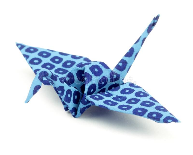 Blauwe Origamidocument Gevouwen Vogel royalty-vrije stock afbeeldingen