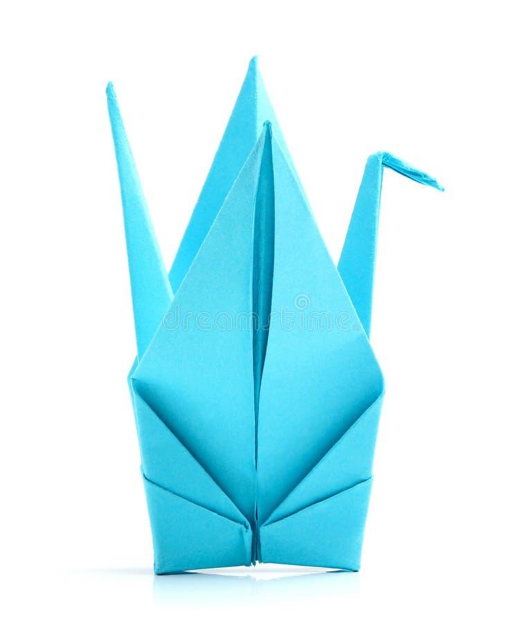 Blauwe origamivogel royalty-vrije stock foto