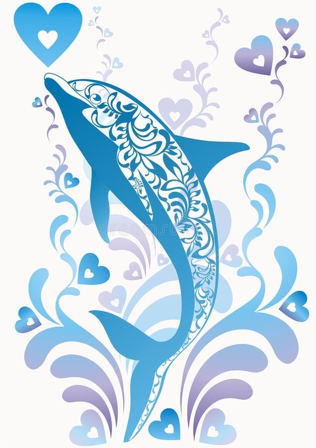 Blauwe ornamentadolfijn stock illustratie