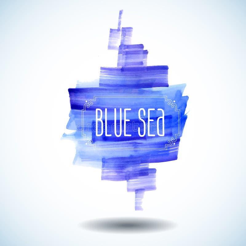 Blauwe overzeese abstracte waterverfachtergrond stock illustratie