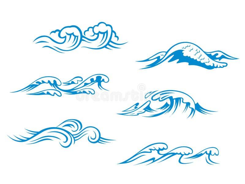 Blauwe overzeese golven stock illustratie