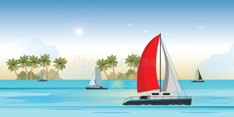 Blauwe overzeese mening met jacht van het luxe het varende schip in het overzees royalty-vrije illustratie