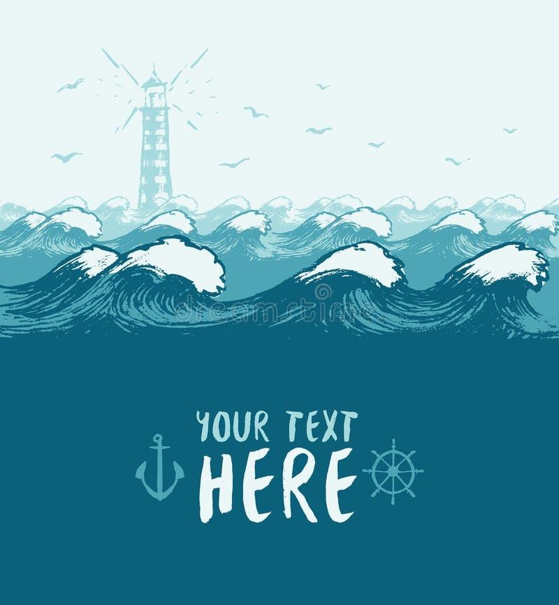 Blauwe overzeese van de de vogelszomer van de golvenvuurtoren banner vector illustratie
