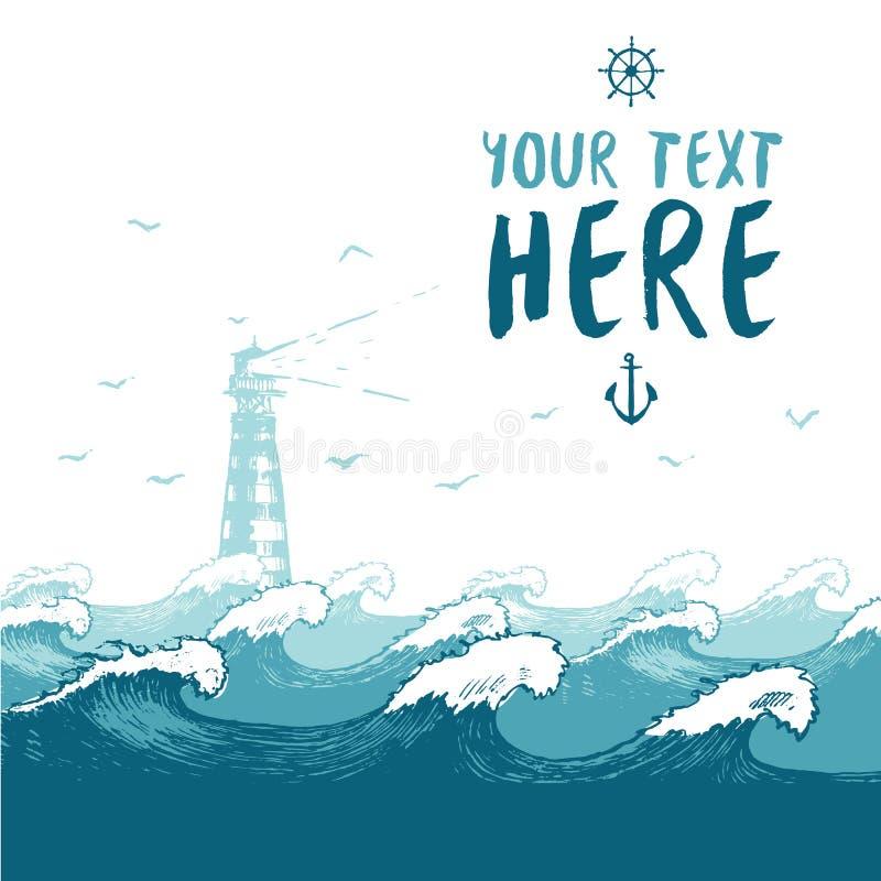 Blauwe overzeese van de de vogelszomer van de golvenvuurtoren banner stock illustratie