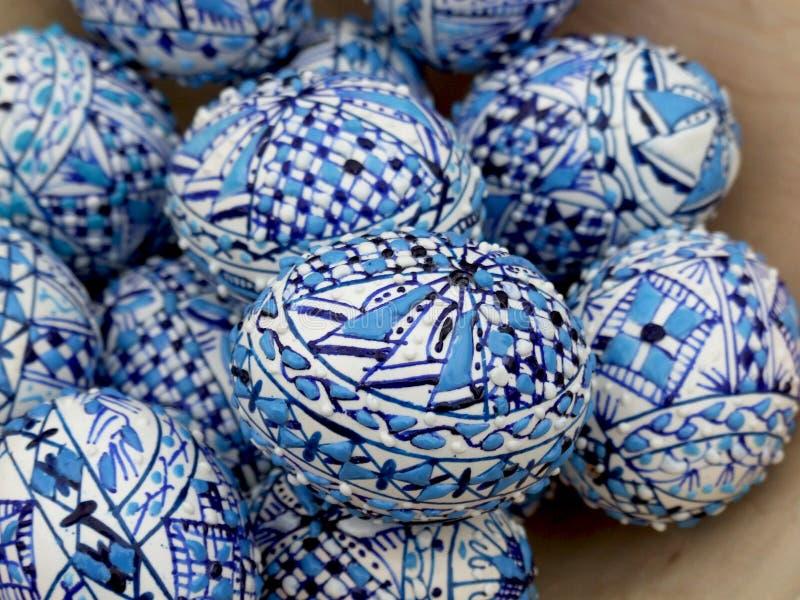 Blauwe paaseieren stock foto