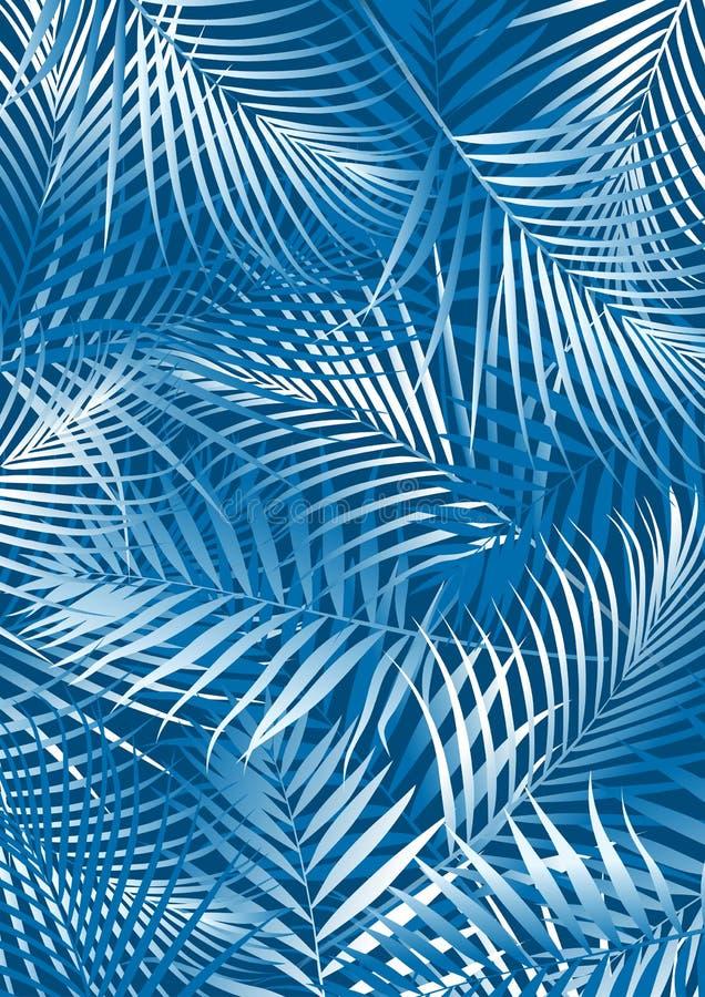 Blauwe palmbladen vector illustratie