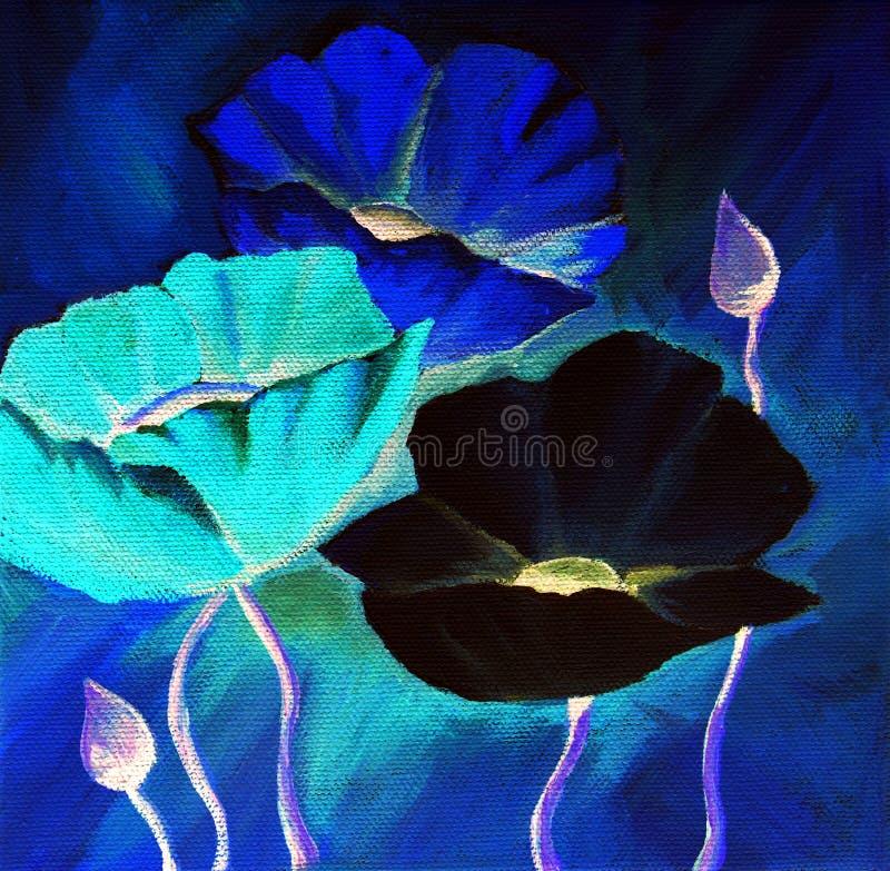 Blauwe papaver vector illustratie
