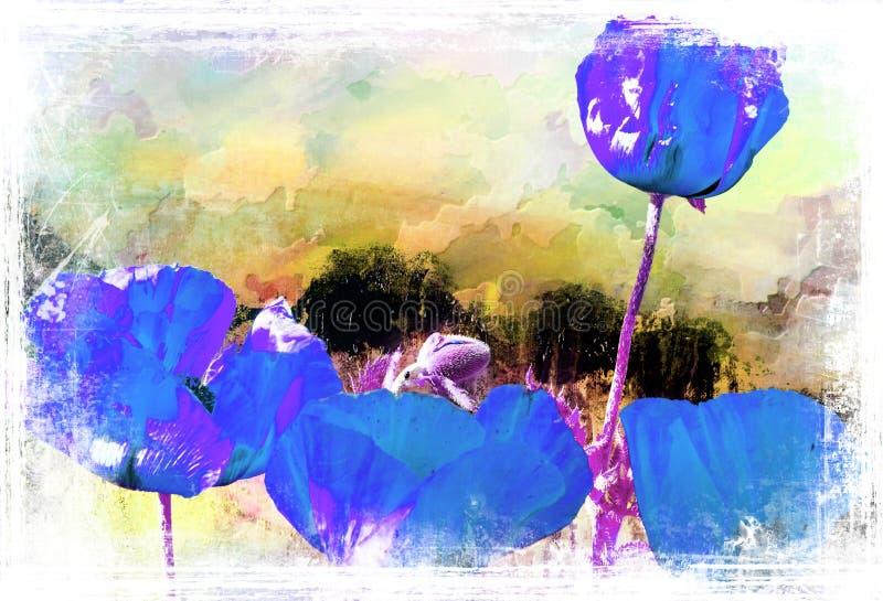 Blauwe papaverprentbriefkaar in waterverftechniek vector illustratie