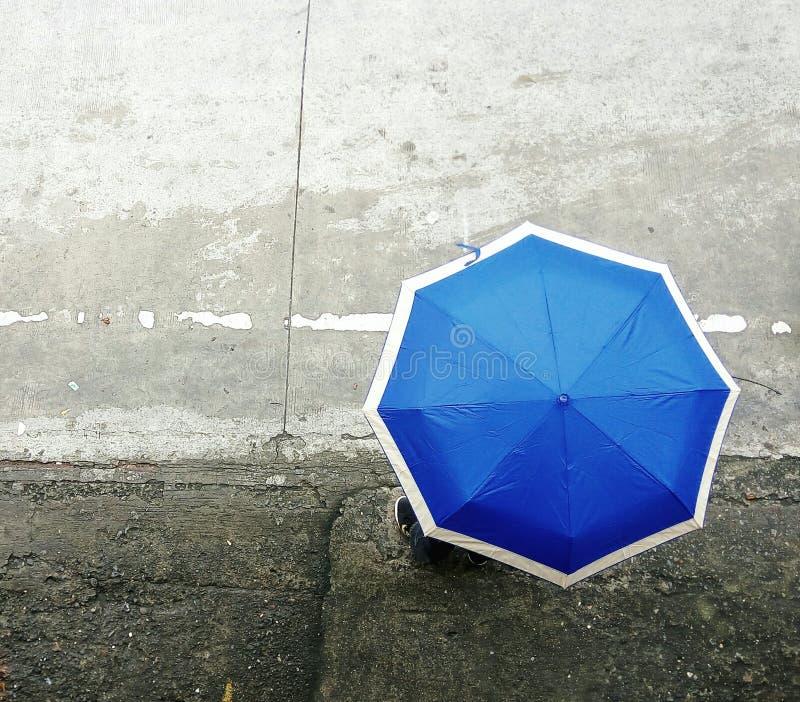 Blauwe paraplu royalty-vrije stock afbeelding