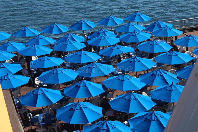 Blauwe Paraplu's royalty-vrije stock afbeelding