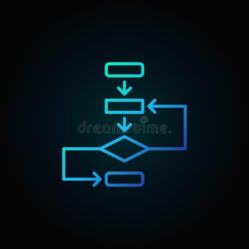 Blauwe pictogram van het algoritme het vectoroverzicht op donkere achtergrond royalty-vrije illustratie