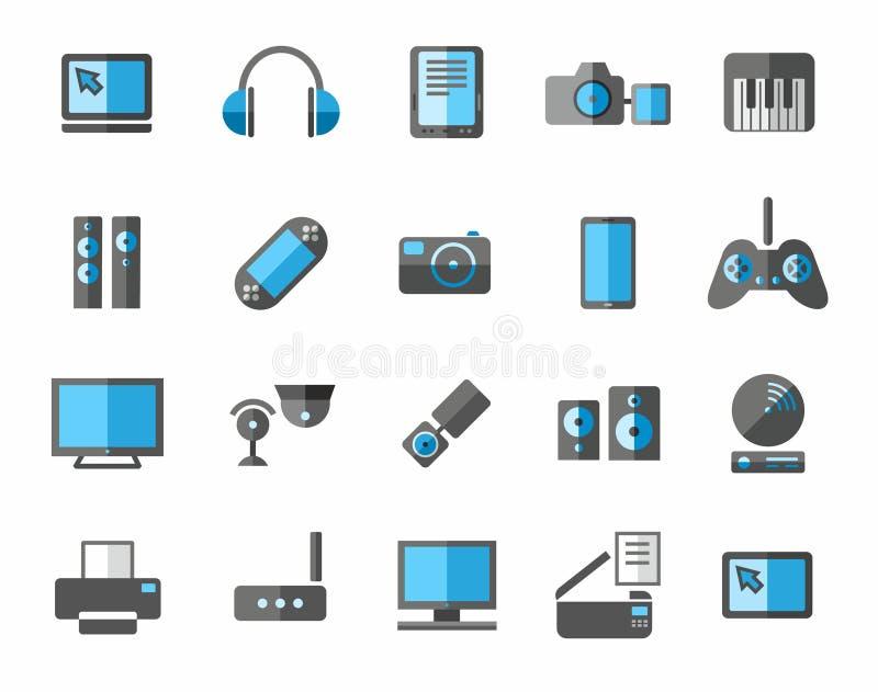 Blauwe pictogrammenfoto en videomateriaal, non-ferro, grijs, vector illustratie
