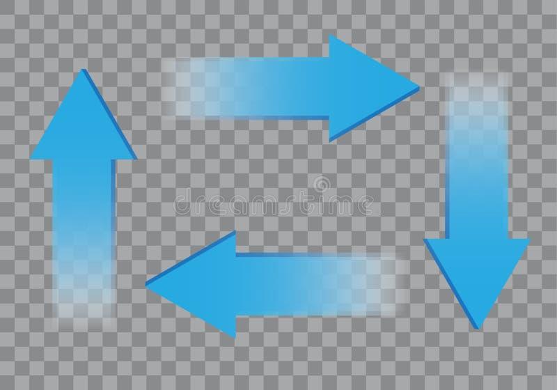 Blauwe pijl 3D actie die op de grijze geruite vector van het achtergrondtekensymbool wordt geplaatst stock illustratie