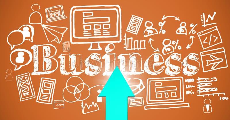 Blauwe pijl met gloed en witte bedrijfskrabbels tegen oranje bord royalty-vrije illustratie