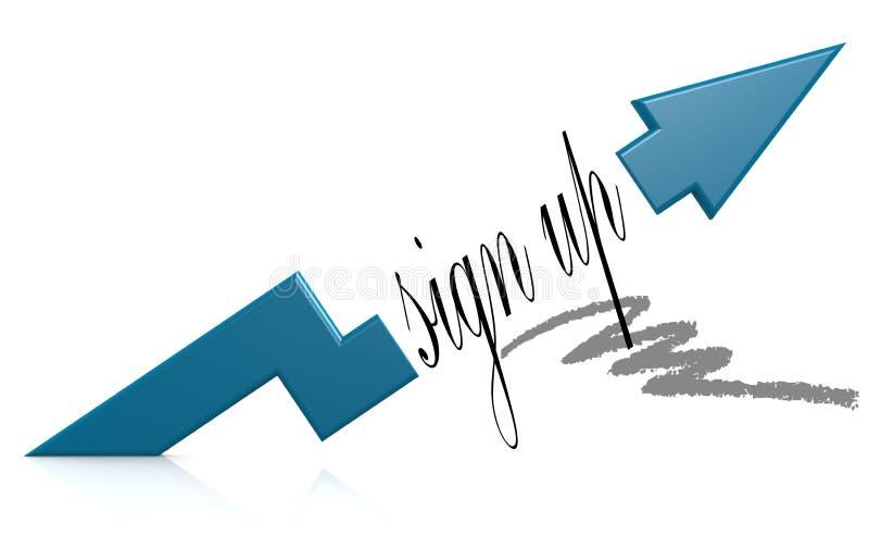 Blauwe pijl met teken op woord royalty-vrije illustratie