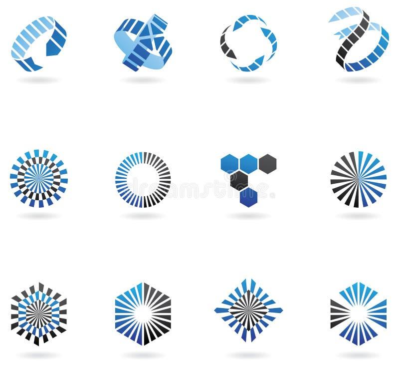 Blauwe pijlemblemen stock illustratie