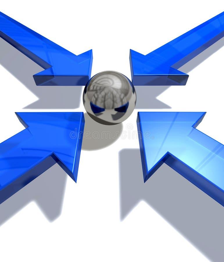 Blauwe pijlen stock illustratie